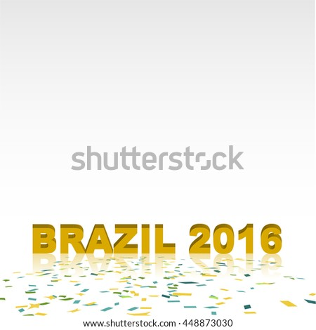 Brazil Bunting flag with confetti on floor with copy space at top area of image, concept for Brazil summer sport tournament - stock vector