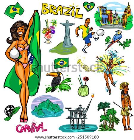 Brazil cartoon collection - stock vector