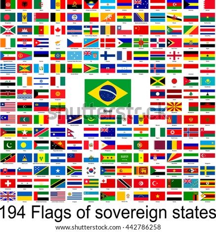Brazil, collection of vector images of flags of the world
