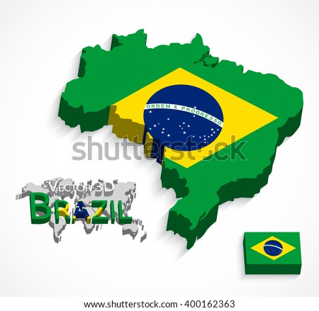 Brazil 3D ( flag and map ) ( Transportation and tourism concept )