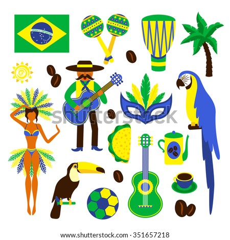 Brazil decorative icons set with football carnival coffee parrot isolated vector illustration - stock vector