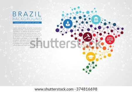 Brazil dotted vector background - stock vector