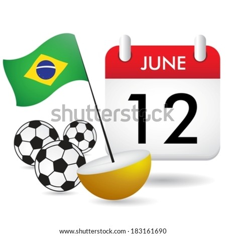 brazil flag and calendar eps10 - stock vector