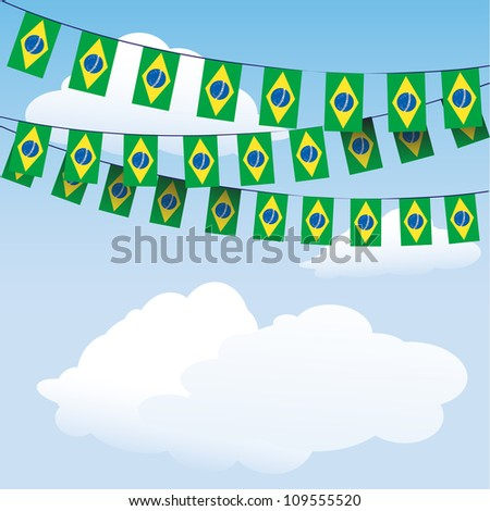 Brazil Flag bunting on cloud background with space for your text. EPS10 vector format - stock vector