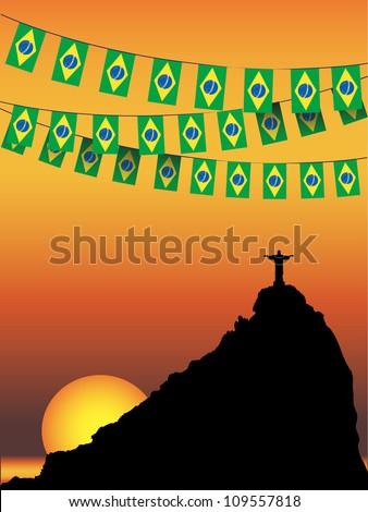 Brazil Flag bunting on Rio De Janeiro sunset background. EPS10 vector format - stock vector