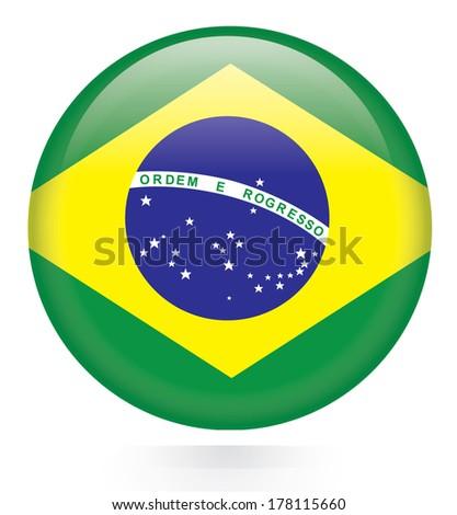 Brazil flag button - stock vector