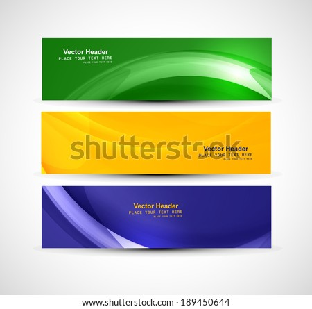Brazil flag concept three colorful wave header set design banner vector - stock vector