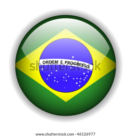 Brazil flag, glossy button, vector - stock vector