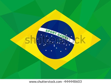 Brazil flag in low poly style on sport theme. Vector illustration in national colors green yellow blue.