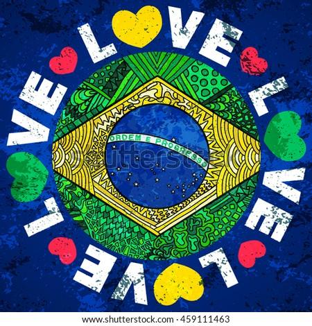 Stock vector brazil flag love brazil grunge banner zentangle illustration  native symbol of brazil and rio 9a3b57f22c