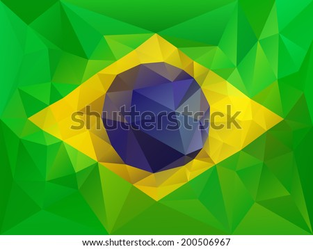 Brazil flag low poly illustration