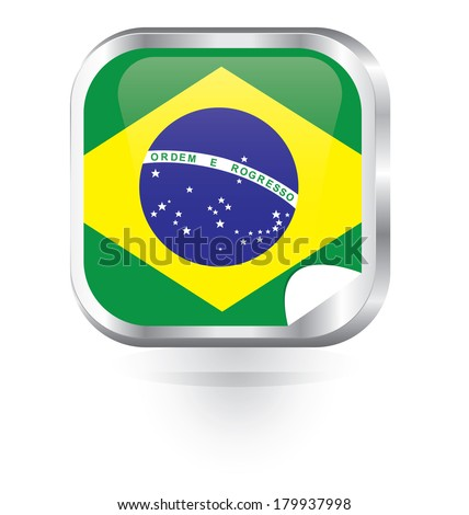 Brazil flag metal button - stock vector