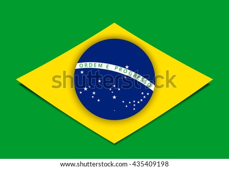 Brazil flag over green background. Summer Olympic games 2016. RIO. Bandeira do Brasil. Blue disc depicting a starry sky spanned by a curved band inscribed with the national motto Ordem e Progresso.