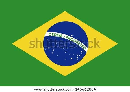 brazil flag over green background vector illustration - stock vector