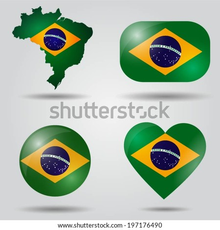 Brazil flag set in map, oval, circular and heart shape. - stock vector
