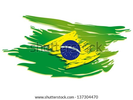 brazil flag stylized on a white background paint with a brush - stock vector
