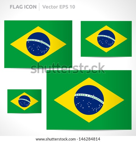 Brazil flag template | vector symbol design | color green yellow blue and white | icon set - stock vector