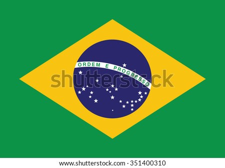 Brazil flag, vector illustration.