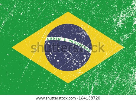 Brazil Flag vintage - stock vector