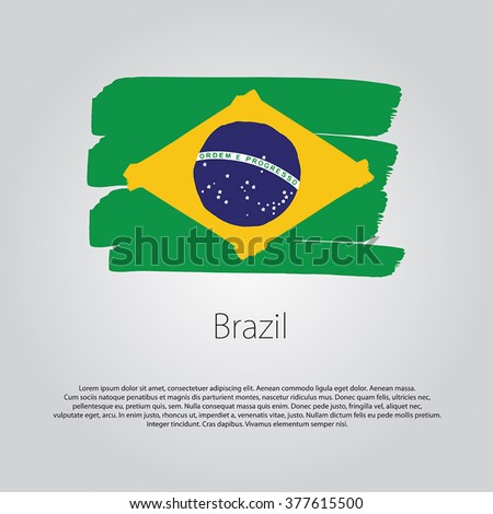 Brazil Flag with colored hand drawn lines in Vector Format - stock vector