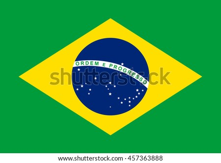 Brazil flag with flat design vector background. - stock vector