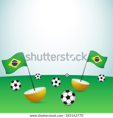 brazil flags with balls on football pitch eps10