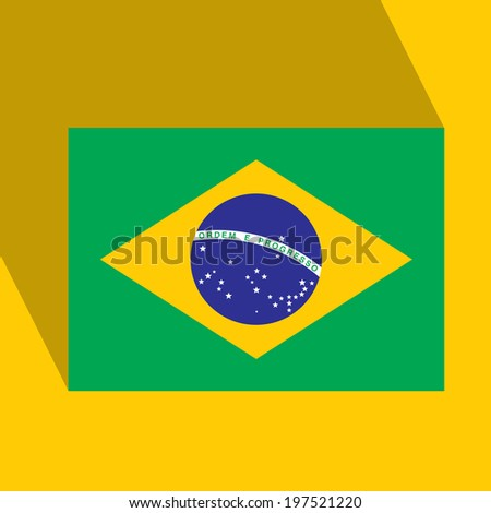 Brazil 2014 Flat Icon with Brazilian Flag. Vector. EPS10 - stock vector