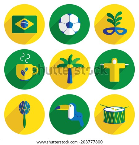 Brazil flat icons - stock vector