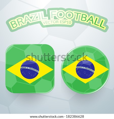 Brazil football icon flag design. Vector illustration - stock vector