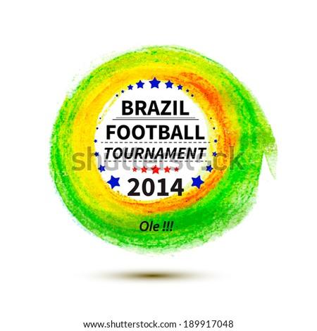 Brazil 2014 football poster.Circle spot. Bright Background. Vector illustration - stock vector
