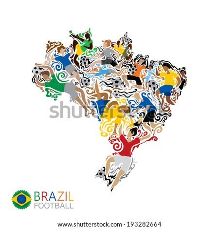 Brazil football, soccer, abstract characters, carnival (vector Art) - stock vector