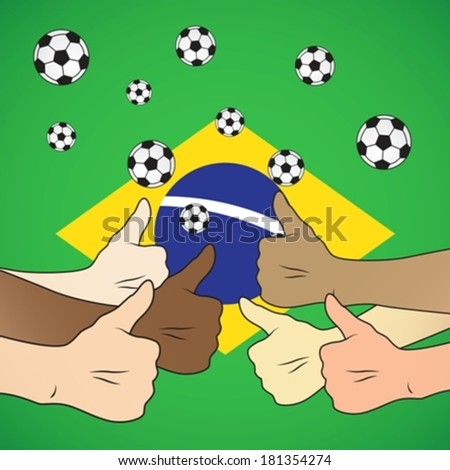 brazil football thumbs up eps10 - stock vector