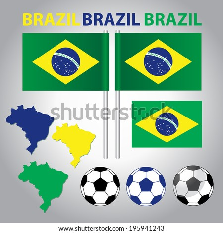Brazil Football Vector: 3 Different Colors of Footballs, Brazil Maps, Flags and Texts