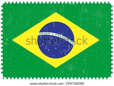 Brazil grunge flag.Brazilian flag with grunge texture.Vector template. - stock vector