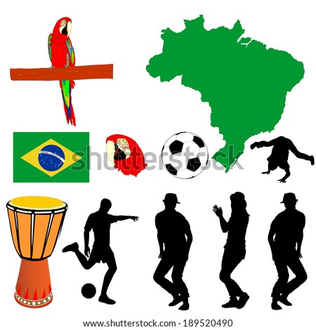 Brazil high detailed green vector map and flag isolated on white background. Silhouette illustration. Soccer ball, drum and Macaw parrot had, symbols of Brazil.  - stock vector