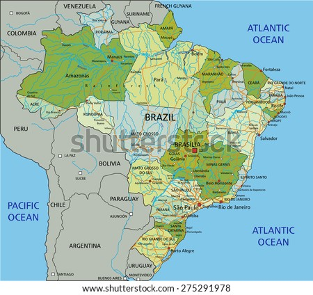 Brazil - Highly detailed editable political map with separated layers. - stock vector