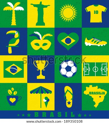 Brazil icon set.  - stock vector