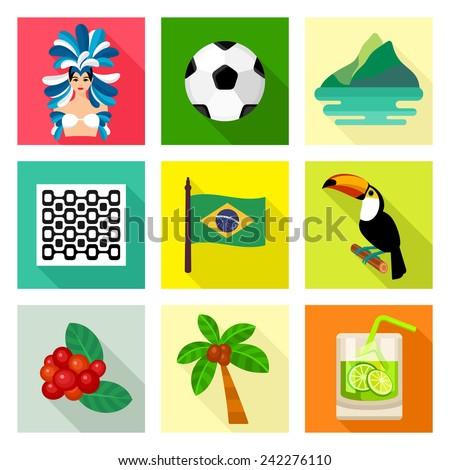 Brazil icon set - stock vector