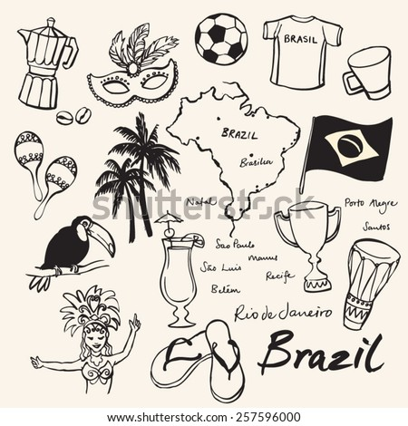 Brazil icons doodle set  - stock vector