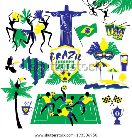 Brazil icons set - stock vector