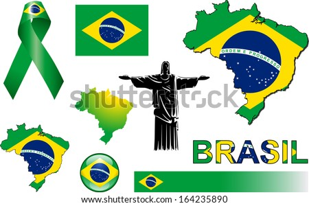 Brazil Icons. Set of vector graphic images and symbols representing Brazil. - stock vector