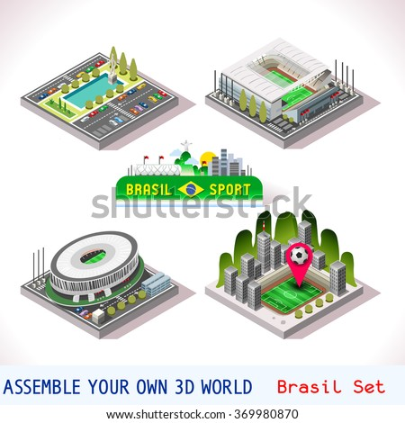 Brazil isometric stadium icons Brasil Brasilia Goias Estadio National Sao Paulo Arena Corinthians. Flat 3D City Map Elements Game Tiles sport facility buildings Vector Illustration. - stock vector