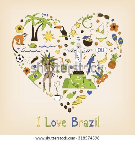 Brazil - landmarks and symbols set  - stock vector