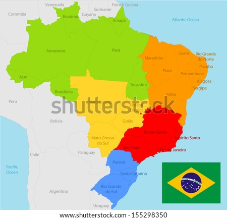 Brazil map and flag - stock vector