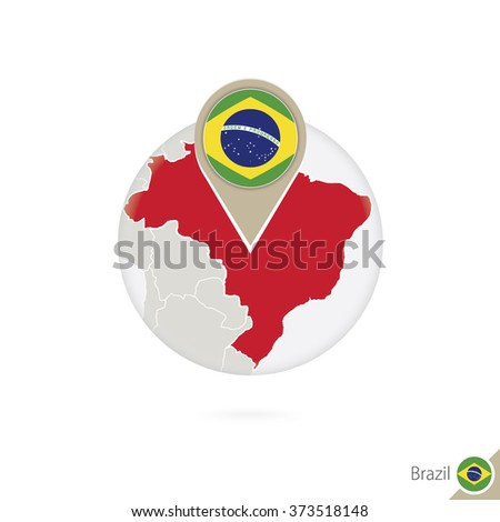 Brazil map and flag in circle. Map of Brazil, Brazil flag pin. Map of Brazil in the style of the globe. Vector Illustration.