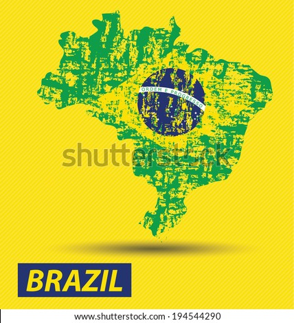 Brazil map and flag vector - stock vector