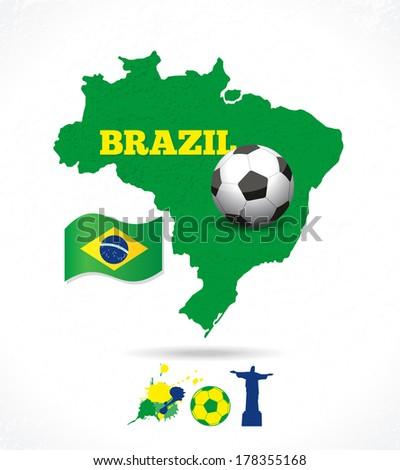 Brazil map background - stock vector