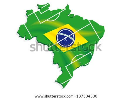 brazil map flag soccer field - stock vector