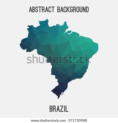 Brazil map in geometric polygonal style.Abstract tessellation,modern design background. Vector illustration EPS8 - stock vector