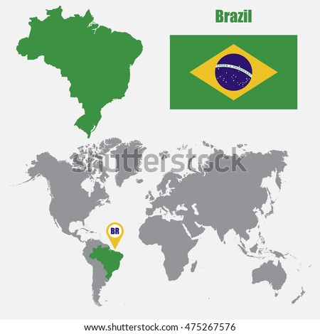 Brazil map on world map flag stock vector 475267576 shutterstock brazil map on a world map with flag and map pointer vector illustration gumiabroncs Choice Image